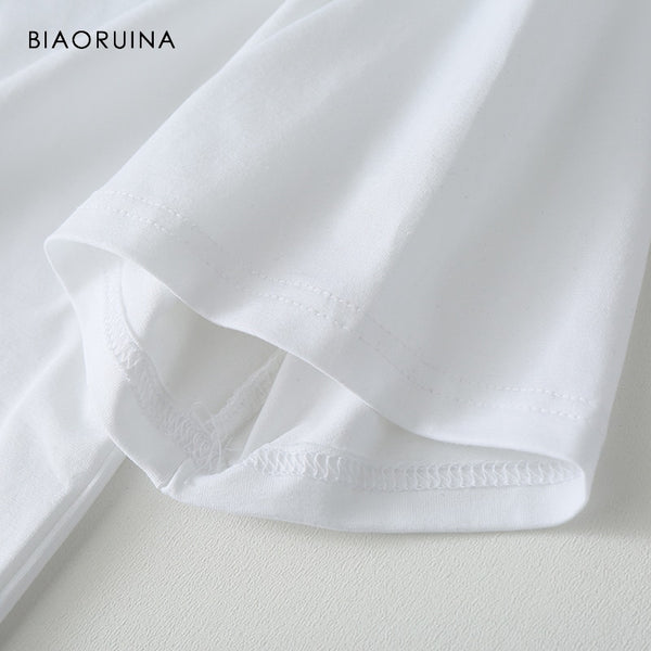 BIAORUINA Women Casual Cat Embroidery White T-shirt Short Sleeve Female Cotton All-match Sweet Tees Sweet Summer Tops