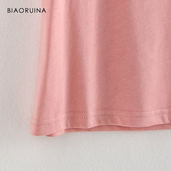 BIAORUINA Women Casual Cat Printed T-shirt Short Sleeve O-neck Female All-match Loose Tees Tops Women's Summer Sweet T-shirts
