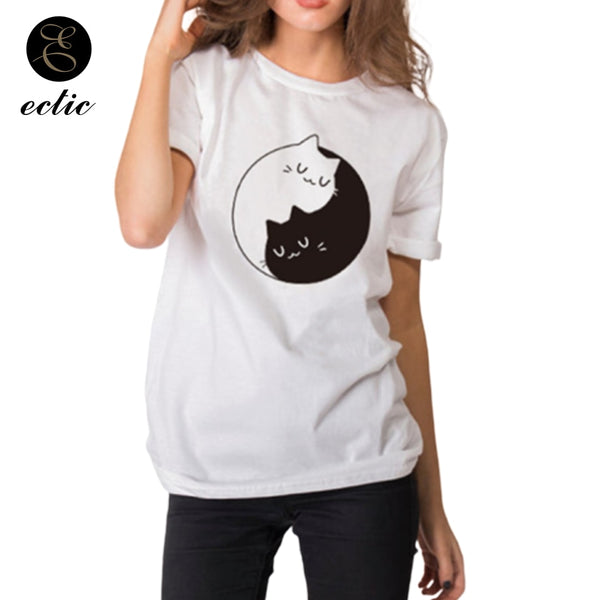 Yin Yang T Shirt With Cat Symbol Vetement Femme 2019 4xl Casual  Women T-Shirts Cute Harajuku Kawaii Cotton T Shirt Short Sleeve