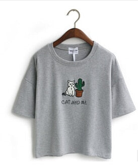 Merry Pretty Harajuku t shirt women Korean style t-shirt tee kawaii cat embroidery cotton tops shirt camiseta feminina Drop Ship