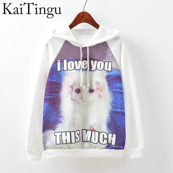 KaiTingu 2016 Fashion Autumn Winter Sweatshirt Harajuku Cat Print Women Hoodies Casual Hooded White Tracksuit Jumper Pullover