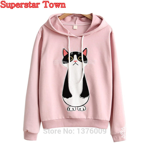 Kawaii Hoody Cute Cat Sweatshirts Harajuku Mori Girl Pullover Anime Female Hoodies Cartoon Student School Clothes Moletom