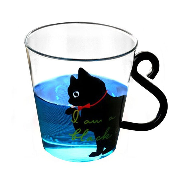 Justdolife 8.5oz Cute Creative Cat Milk Coffee Mug Water Glass Mug Cup Tea Cup Cartoon Kitty Home Office Cup For Fruit Juice