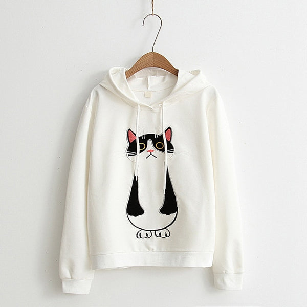 women hoodies cat cartoon long sleeve  hoody ladies dress cotton fashional  pullovers cotton hoody regular avarage size clothes