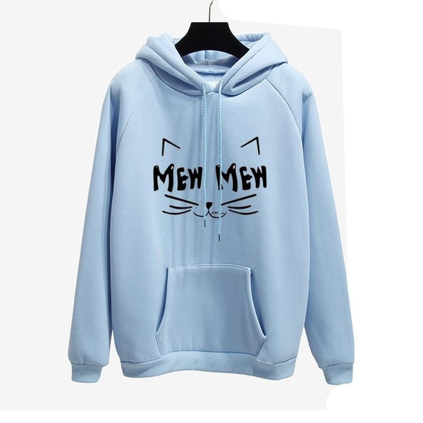 Autumn Winter Office Lady cat MEW Harajuku PINK Pullover Hoodies Women sweatshirt Thick Moletom Feminino Sudadera Mujer Clothes
