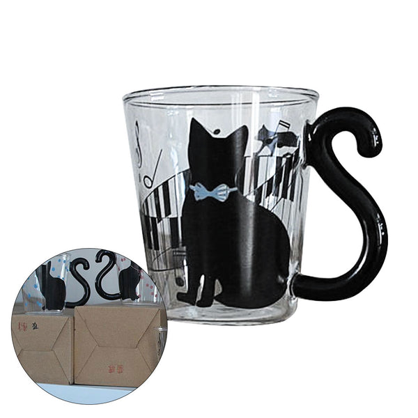 Promotions Cute Creative Cat Kitty Glass Mug Cup Tea Cup Milk Coffee Cup Music/Dots/English Words Home Office Cup