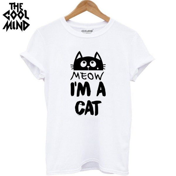 COOLMIND QI0232B 100% cotton cat print women T shirt casual short sleeve Tshirt female o-neck loose women t-shirt tops tee shirt