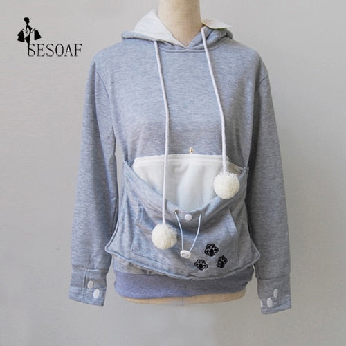 Women's Clothing Cat Lovers Hoodie Kangaroo Dog Pet Paw Pullovers Cuddle Pouch Sweatshirt Pocket Animal Ear Hooded