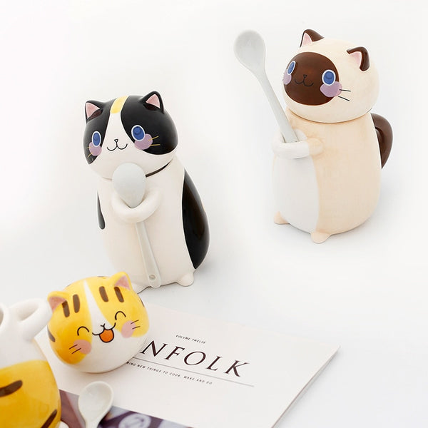 Cute Cat Ceramics Coffee Mug With Lid Large Capacity Animal Mugs creative Drinkware Coffee Tea Cups Novelty Gifts milk cup