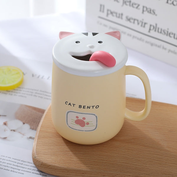OUSSIRRO Cute Cat Ceramics Coffee Mug With Lid Large Capacity 430ml Mugs creative Drinkware Milk Tea Cups Christmas Gifts