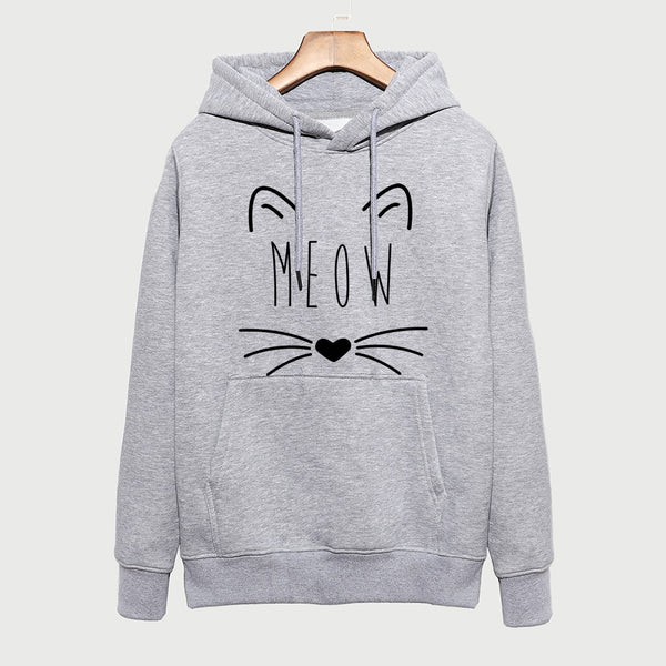 Women's Sweatshirt Autumn Winter 2018 New Fashion Hooded Hoodies Lady Harajuku Coat Kawaii Cat MEOW Female Sweatshirt Kpop Hoody