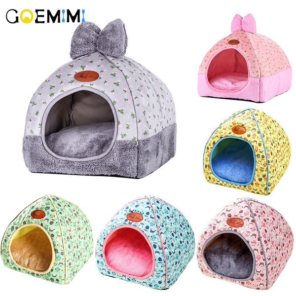 Brand New Cat Warm Cave Lovely Bow Design Puppy Winter Bed House Kennel Fleece Soft Nest For Small Medium Dog House for cat