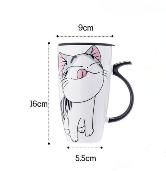 Hot sale 600ml Cartoon creative cat mug With Lid milk coffee mug for tea Porcelain travel Cup Large Capacity ceramic Nice Gifts