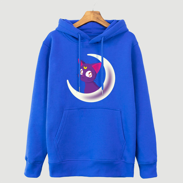 Japan Anime Sailor Moon Hoody Cat Animal Print Sweatshirt For Women 2018 Fleece Coat Autumn Winter Women's Hoodies Harajuku Tops