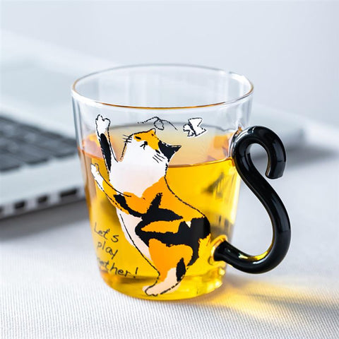 8.5oz Cat Printed Coffee Mug Cute Water Juice Milk Cup For Breakfast Drinkware Animals Kittens Tea Coffee Cup For Home