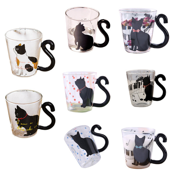 IVYSHION New 300ML Cute Glass Mug With Musical Note Cats Lovely Handle Milk Coffe Mug Kitchen Water Bottle Kettle Love Couples