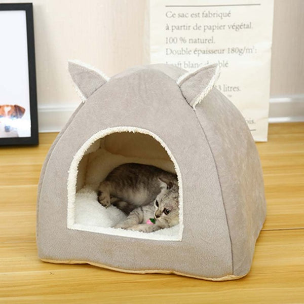 Foldable Cat Bed Self Warming for Indoor Cats Dog House with Removable Mattress Puppy Cage Lounger Grey Pink Green