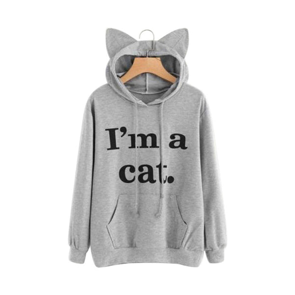 Autumn Winter Women Hooded Hoodies Long Sleeve Letters Printing Sweatshirt With Cat Ears Hat Lady Girls Casual Pullover Best Sal