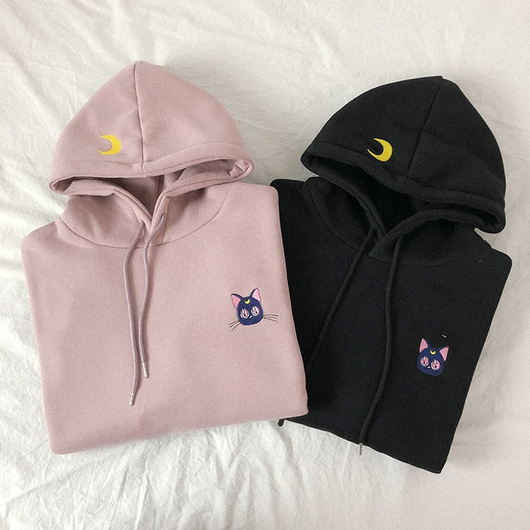 Embroidered Moon Cat Pink Hoodies Women Kawaii Korean Style Loose Sweatshirt Hooded Pullovers