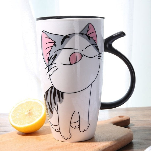 600ml Cute Cat Ceramics Coffee Mug With Lid Large Capacity Animal Mugs creative Drinkware Coffee Tea Cups Novelty Gifts milk cup