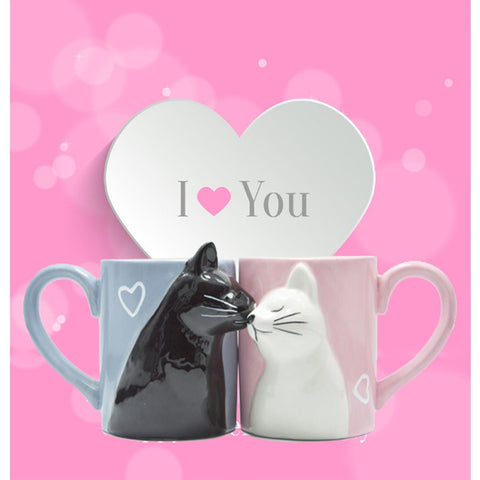 2pcs Luxury Kiss Cat Cups Couple Ceramic Mugs Married Couples Anniversary Morning Mug Milk Coffee Tea Breakfast Valentines Day
