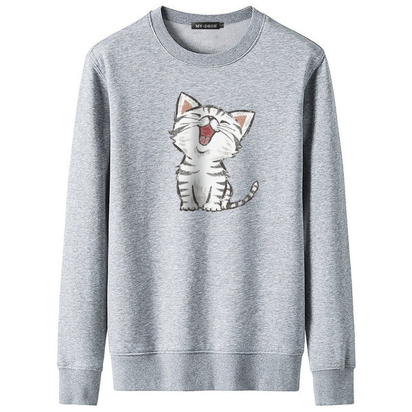 2019 New Sweet Cute Cat Print Hoodie Boys Hoodies Sweatshirt Pullovers Kpop Fans Clothes Oversized Cotton Harajuku Kawaii Tops