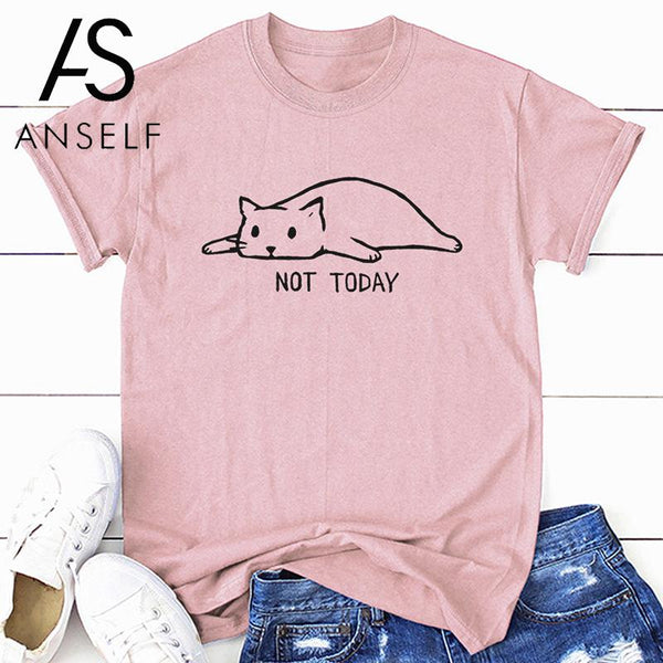 Funny Women T-shirt Not Today Cartoon Cat Letters Print Slogan tshirts Cotton Round Neck Short Sleeve Casual Plus Size Tops 2019
