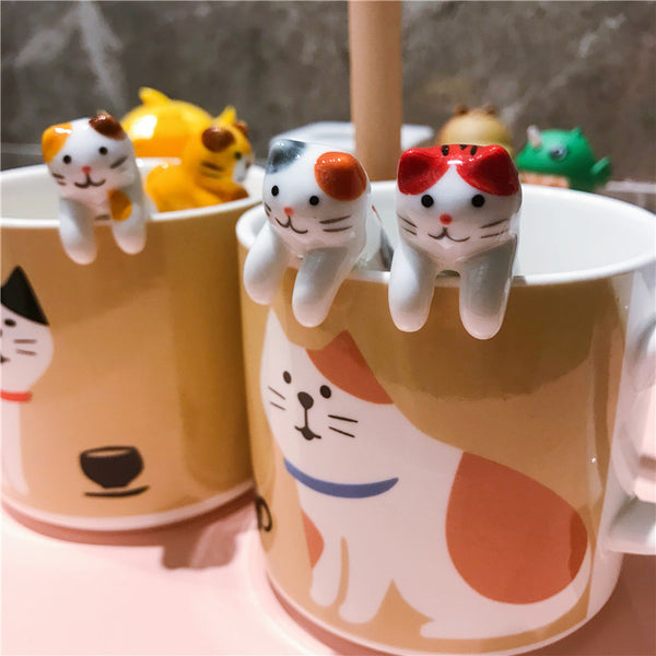 Japanese cat mug with a cute ceramic cup hanging spoon gift creative coffee cup milk cup mug cheshire cat CL10221429 sesame cat