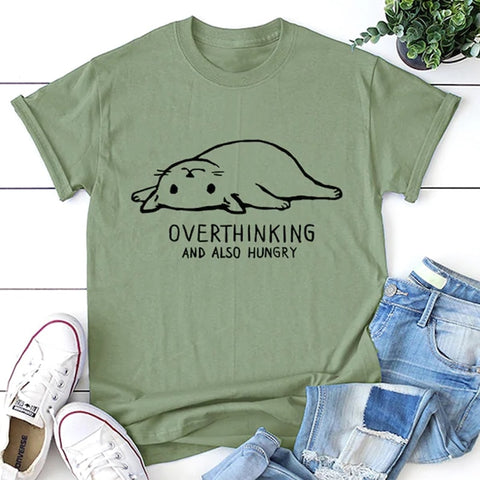 Overthinking and also hungry cat Not Today Cat Graphic Tees Women Tshirt Funny Print T-shirt fashion tops