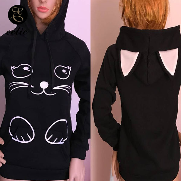Winter Pullover Sweatshirts Women Cat Kawaii Poleron Mujer 2019 Kangaroo Pocket Hoodie School Korean Streetwear Oversized Hoodie