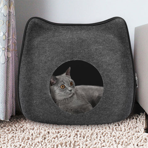 Portable Gray Cute Cat Shape Pet Bed Cat Cave Sleeping Bag Zipper Egg Shape Felt Cloth Pet House Nest Cat Basket with Cushion