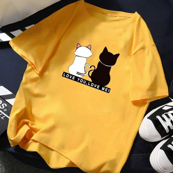 Summer Tops for Women 2019 Cartoon Cat Print Loose White T shirt Short Sleeve Cotton Top Slim Fit Soft Women Tshirt M-XXXL