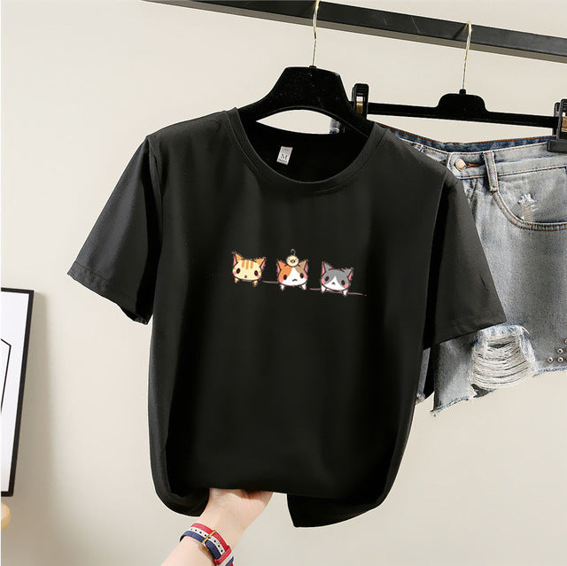 Milinsus 2019 New Cartoon Korean women t-shirt Fashion Print Cats T Shirt  Womens Short Sleeve Female tops tshirts Casual  tees
