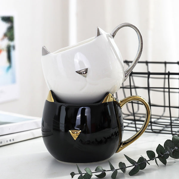 Cute Cat Coffee Mug with 3D Ears and Gold Silver Handle Ceramic Tea Water Cup Gift for Women Girls White Black 500ml