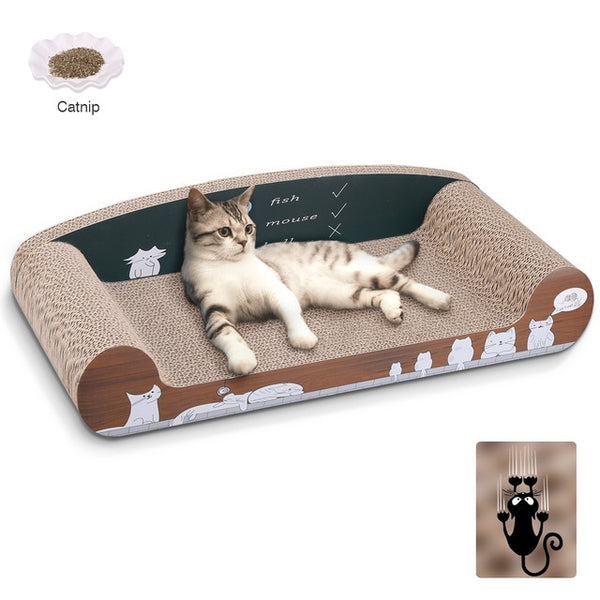 Cat Scratcher Board Corrugated Curved Shaped Pet Scratching Board Deluxe Cat Lounge With Organic Catnip Claw Care Cat Toy #4