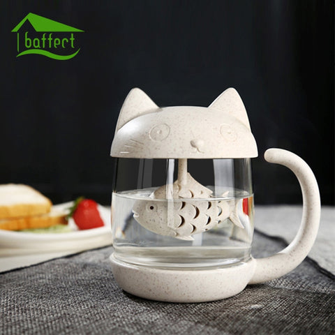 Baffect Cat Mug Glass Water Tea Cup with Filter Creative Tea Strainer Teapot Teabags Mugs for Tea & Coffee Wedding Birthday Gift