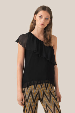 Tul One-Shoulder Top