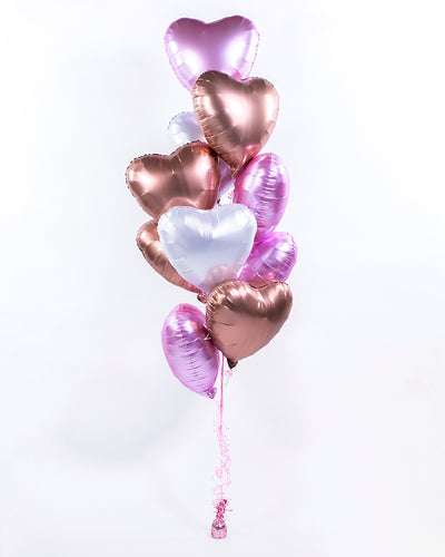 Pink, Rose Gold & White Heart Balloon Bouquet
