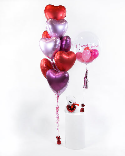 Heart Balloon Bouquet and Personalized Bubble Balloon - Red, Pink, Purple