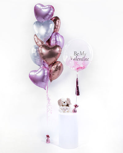 Heart Balloon Bouquet and Personalized Bubble Balloon - Pink, Rose God, White