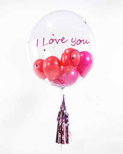 Personalized Bubble Balloon Filled With Pink, Red Balloons