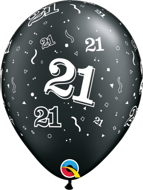 "12"" Black Latex Balloon - 21 Elegant Sparkles & Swirls"