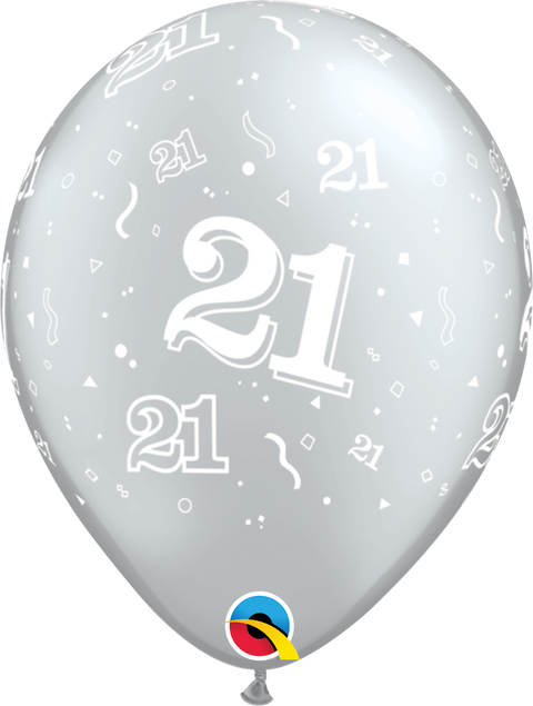 "12"" Silver Latex Balloon - 21 Elegant Sparkles & Swirls"