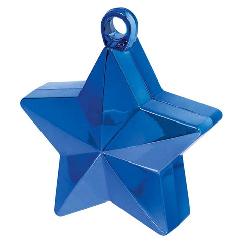 a blue star-shaped balloon weight