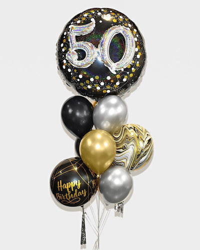 3D Age and Orbz Balloon Bouquet - Chrome Gold, Black, Silver
