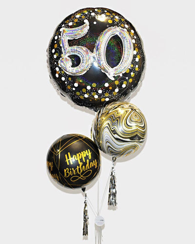 3D Number and Orbz Balloons - Black, Gold, Silver