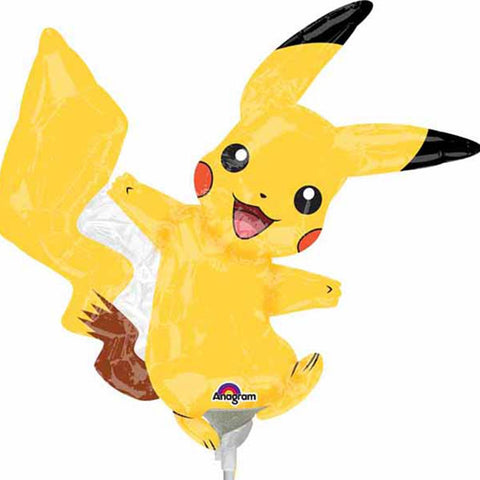 a small air filled foil balloon of pikachu that sits on a white plastic stick