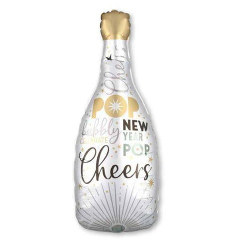 white champagne bottle with new year quotes printed on each side of the balloon