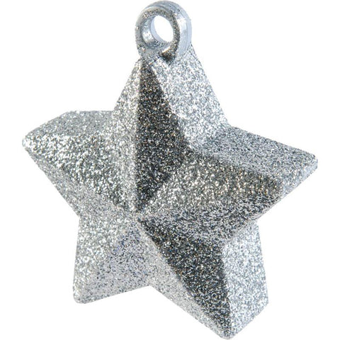 a silver glitter star-shaped balloon weight