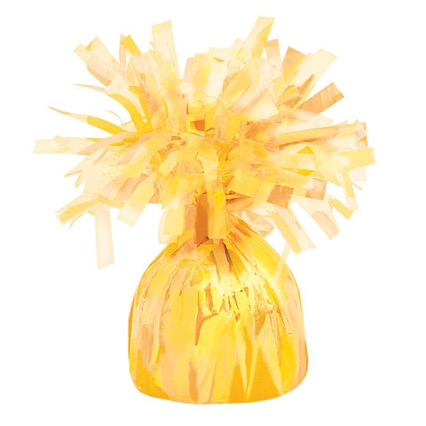 yellow foil balloon weight to hold bouquets down to the ground